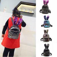 mochilas princesas al por mayor-4styles lentejuelas mochila linda oreja de conejo bolsa de almacenamiento mochilas moda de las niñas de la escuela del estudiante bolsa de regalo de la princesa FFA2139 morral de los niños