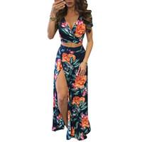 sexy vestido elegante vestido al por mayor-Nuevas mujeres elegantes de verano vestidos largos maxi conjunto de dos piezas Sexy 2017 Hollow Out Crop Top Faldas Estampado floral 2 piezas Trajes