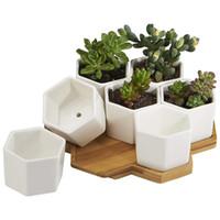 ingrosso bambù coperto-Vasi per fioriere Indoor, 7 Pack 2.75 pollici Modern White Ceramic Small Hex Succulente Cactus Flower Pot con vassoio in bambù per In