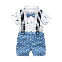 beyaz pamuklu bebek yaz takımları toptan satış-Yaz Bebek Erkek Gentleman Giyim Pamuk Bebek Setleri Yay Gömlek Çocuk Kıyafetleri Beyaz Baskılı Gömlek Suits + Mavi Yıldız ShortsMX190912