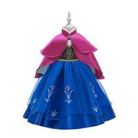 top pelerin toptan satış-/ Set Çocuklar Giyim M865 Kız Balo Çiçek Baskılı Elbise + Cloak 2adet için Snow Queen Kostüm Bebek Kız Prenses Giydirme