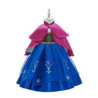 Wholesale baby snow clothing resale online - Snow Queen Costume Baby Girls Princess Dress for Girl Ball Gown Flower Printed Dress Cloak set Kids Clothing M865