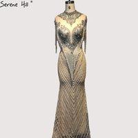 vestidos colinas à noite venda por atacado-Dubai Beading Tassel Luxo Sexy Vestidos de Noite 2019 Silve Rsleeveless High-end Vestidos de Noite Serene Hill La60811 Y19042701