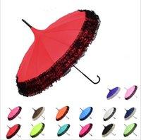 princesa paraguas al por mayor-Rainbow Umbrella Lace Long Handle 16K Paraguas rectos A prueba de viento Colorido Pongee Paraguas Sunny Rainy Umbrella Princess Umbrellas LT794