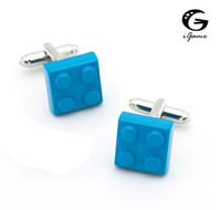 Wholesale toy links resale online - iGame Men s Shirt Cuff Links Brass Material Sky Blue Toy Blocks Cufflinks