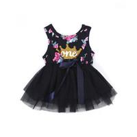 gedrucktes chiffon- ballkleid großhandel-Kind Mädchen Prinzessin Baby Kleid Neugeborenen Baby Mädchen Kleidung Lila Blumenkrone Print Tutu Ballkleid Party Kleider