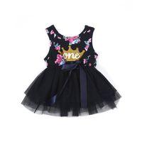 niños vestidos de bola púrpura al por mayor-Niño Niñas Princesa Vestido de bebé Recién nacido Ropa de bebé niña Púrpura Floral Crown Print Tutu Ball Gown Vestidos de fiesta