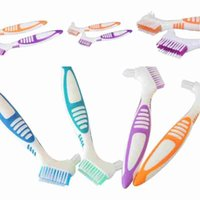 Wholesale toothbrush dual resale online - Denture Brush False tooth brush denture toothbrush soft bristles Dual brushes heads antibacterial toothbrush high qaulity