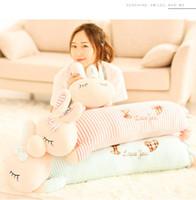 tiere spielzeug für kinder großhandel-Squishy Kaninchen Plüschtiere Puppe liegend 50cm Plüsch Kaninchen Spielzeug GRÜN rosa Tiere weiche Plushie Handwärmer Decke Kinder tröstlich Geschenk