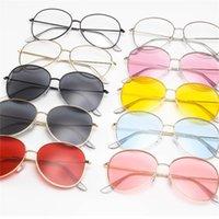 çok renkli yuvarlak güneş gözlüğü toptan satış-Ince Çerçeve Güneş Gözlüğü Metal Gözlük Yuvarlak Erkekler Ve Kadınlar Açık Ultraviyole Koruma Yaz Tatilleri Çok Renkli 5 5kl F1