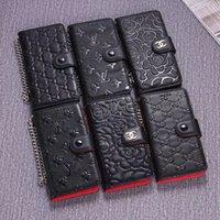 iphone orijinal deri cüzdanlar toptan satış-Folio Hakiki Deri Cüzdan Çanta Kapak Metal İpi Bilezik Dirseği kılıf telefon Kabuk Çanta Çiçek Baskı iphone XS Max XR 6 s 8