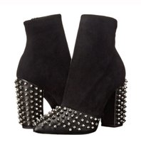 design chic großhandel-Black Rock Rivets Design Wildleder Spitz Frauen Chunky Heeled Chic Ankle Booties