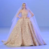 elie saab luxuskleider großhandel-Luxus Elie Saab Spitze Ballkleid Brautkleider 3D Appliques Perlen mit Sheer Neck Brautkleid Plus Size Brautkleid