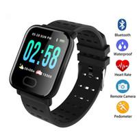 калорий отслежыватель смотреть оптовых-Новое прибытие A6 Fitbit Спорт смарт-группа артериального давления смарт браслет монитор сердечного ритма калорий трекер IP67 водонепроницаемый браслет часы