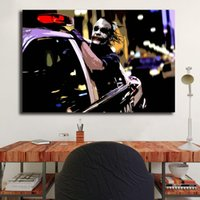 Wholesale car canvas prints online - Dark Knight Joker Driving Police Car Marvel Wall Art Canvas Poster And Print Canvas Painting Decorative Picture For Living Room Home Decor
