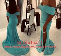 Wholesale vestidos de fiesta for sale - Vestidos de fiesta Simple Off shoulder Blue Satin Long Prom Dresses High Side Split Formal Evening Gowns Cheap Party Dress Celebrity