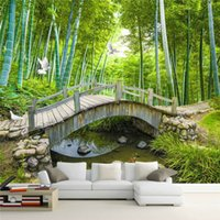 Wholesale landscape paintings forest resale online - beibehang Bridges Custom Photo Wallpaper D Bamboo Forest Landscape Painting Wall Decoration Living Room Bedroom d Wallpaper