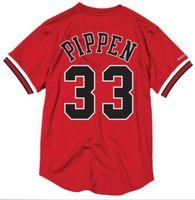 coletes de malha venda por atacado-NCAA Retro Barato Costurado # 33 Scottie Pippen Mitchell Ness Jersey Mens Camisa de Malha Vermelha Camisa Colete t-shirt de Basquete jerseys