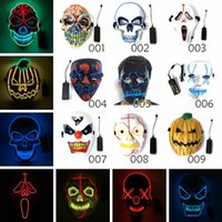 mascarada fiesta moda mascara al por mayor-Moda Halloween LED Máscaras de miedo EL Wire Skull Masquerade Mask Ghost Pumpkin Festival Dancing Cosplay Party Supplies TTA1499