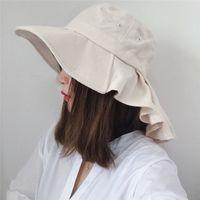 Wholesale visor storage resale online - Outdoor UV Protection Big Side Sun Hat Ladies Hat Convenient Folding Cap Storage Neck Scarf Sun Visor