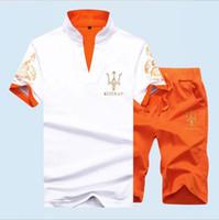 штаны для мужчин оптовых-Летний спортивный костюм с коротким комплектом мужские шорты Fasion Повседневные костюмы Спортивная одежда Мужская одежда Шорты Стенд воротник футболка + брюки мужские