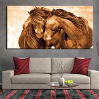 arte da parede dos pares venda por atacado-HD Modern Impresso Pintura Canvas Home Decor 1 Parte casal animal cavalo Poster Wall Art Imagem Home Decor No Frame