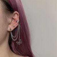 Wholesale clip tassel earrings resale online - Retro stainless steel butterfly chain tassel pendant earrings sweet cool girl ear bone chain ear bone clip decoration