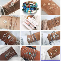 Wholesale bracelet tungsten resale online - 19 styles Bohemian Turtle Pineapple Heart Map Charm Bracelets Bangles For Women Fashion Beads Strand Bracelets Sets Jewelry Gifts HZSSL2