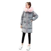 ingrosso giacca imbottita in oro-Rheaeiz Fashion Winter Jacket Donna Velluto oro imbottito in cotone Giacche invernali Collo di pelliccia con cappuccio Parka Warm Coat Women