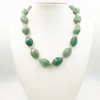 Wholesale gold aventurine resale online - Lily Jewelry Green Aventurine Jades Chalcedony Necklace Black Jades Toggle Clasp cm inches
