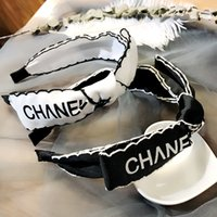 Wholesale hair bow weave resale online - High end custom celebrity temperament small hair letter black and white classic bow headband hairpin ade66a