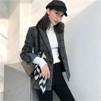 neue blazers winter großhandel-Neue Frau Plaid Blazers weibliche Jacke Winter Mode Vintage Plaid Wollanzug Wollmantel weiblichen Mantel Frauen Blazer