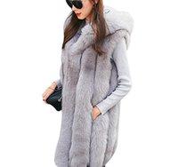 plus größe frauen oberbekleidung großhandel-Warm New Design Imitat-Pelz-Weste-Mantel-Frauen-Weste-Winter-starke mit Kapuze Rosa-lange Oberbekleidung eleganten Damen Jacken Plus Size S-3XL