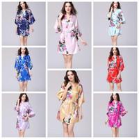 Wholesale japanese sexy clothing for sale - 12 Colors Sexy Women s Japanese Silk Kimono Robe Pajamas Nightdress Sleepwear Broken Flower Kimono Underwear Home Clothing CCA10956