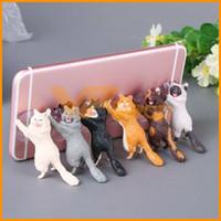 masa üstü telefon toptan satış-Sevimli Kedi Cep Telefonu Tutucu Standı Tabletler Danışma Araba Evrensel Smartphone iPhone Samsung Için Dağı Enayi Kavrama Braketi Standı