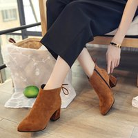 Wholesale thick heel boot shoes for sale - Designer Dress Shoes Autumn Winter Fashion Woman Flock Suede Leather Boots Ladies Thick High Heel Ankle Boots Party Size