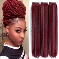 Wholesale kanekalon braiding hair free shipping for sale - Strands Crochet Braids Locks Faux Locs Crochet Hair Extensions Kanekalon Synthetic Braiding Hair Black Brown Pure Colors
