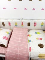 Wholesale red quilted bedding for sale - Group buy 7Pc Crib Infant Room Kids Baby Bedroom Set Nursery Bedding Black Bear Pink Ice cream Cot bedding set for newborn baby girls