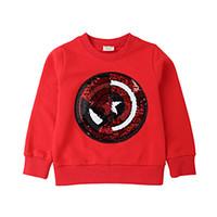 ingrosso bambino felpetto bambino 3t-Spider Man Reversibile Paillettes T Shirt Twitchable Toddler Felpa con paillettes magliette per bambini T-shirt per ragazzi T Shirt 100pcs