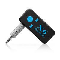 altavoz bluetooth lector usb al por mayor-3.5 mm Audio Jack X6 Adaptador Bluetooth Manos Libres Inalámbrico USB Car Kit Receptor Bluetooth AUX TF Lector de Tarjetas MIC Llamada Soporte Altavoz para Coche