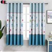 маленькие шторы оптовых-1 PCS W100xL200cm Short Curtains Blinds for Kids Children Boys Bedroom Decoration Small Window Drapes PC011C