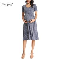 Wholesale dots maternity clothes for sale - Group buy Maternity Dress Polka Dot Pleated Maternity Dress Pregnant Clothes Short Sleeve Casual Wraped Ruched Pregnancy