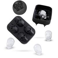 esqueleto de gelo venda por atacado-4 Cavidade Crânio Cabeça 3D Molde Esqueleto Crânio Forma Cocktail De Vinho De Gelo De Silicone Bandeja Cubo Bar Acessórios Doces Mould Refrigeradores De Vinho
