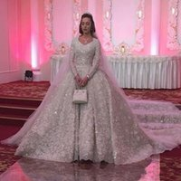 Wholesale real arabic wedding bridal dresses resale online - Sparkly Lace Ball Gown Long Sleeves Wedding Dresses Dubai Luxury Crystal Beaded Puffy Arabic Bridal Gowns Plus Size Custom