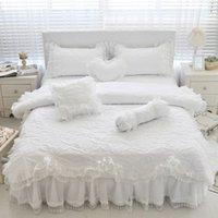 ingrosso doppio letto rosa della principessa-100% cotone trapuntato in spesso pizzo bianco set di biancheria da letto ragazze rosa principessa re queen size twin set letto volant gonna federa