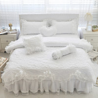 Wholesale pink ruffles lace bedding sets for sale - Group buy 100 Cotton Thick Quilted Lace White Bedding set Girls Pink Princess King Queen Twin size Bed set Ruffle Bed skirt Pillowcase