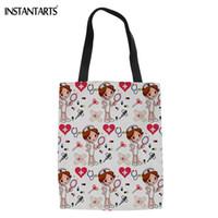 Wholesale eco handbag design for sale - Group buy INSTANTARTS Hot Style Nurse Design Women Linen Tote Bag Shoopping Casual Reusable Eco Bag Beach Bag Cartoon Print Travel Handbag