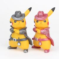 Wholesale pvc kids toys resale online - 12cm inch Detective Pikachu Action Figures toys Evade glue children kids toys gifts V099