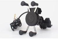 steckdose ladegerät großhandel-Auto Motorrad Ständer X-Grip Halter 12V USB Ladegerät Steckdose Smart Phone Holder