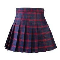 faldas para la escuela al por mayor-La muchacha del estilo de Corea las mujeres falda plisada cintura alta de verano japonés dulces tela escocesa mini falda de la Escuela Saia Colegial Jupe Plisse Femme T519053002